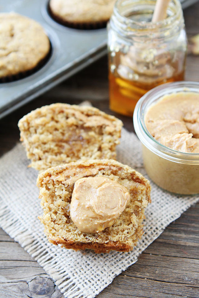 Peanut Butter, Banana, and Honey Muffins