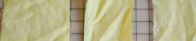 From left to right: linen with zigzag stitching, linen with a serged edge, and linen with a raw/ unfinished edge.