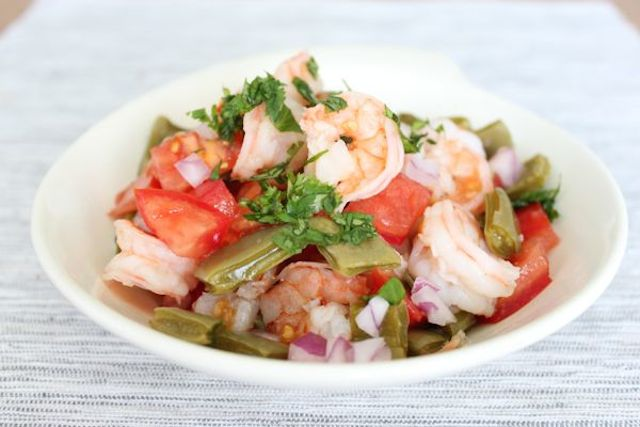 Roasted Cactus Salad with Shrimp