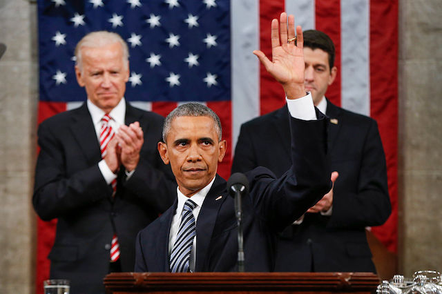 WASHINGTON, DC - JANUARY 12: President Barack Obama waves at the conclusion of his State of the Union address to a joint session of Congress on Capitol Hill January 12, 2016 in Washington, D.C. In his final State of the Union, President Obama reflected on the past seven years in office and spoke on topics including climate change, gun control, immigration and income inequality. (Photo by Evan Vucci - Pool/Getty Images)