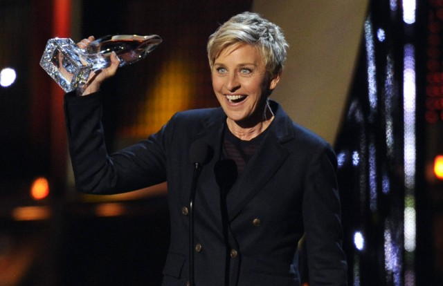 "FILE - In this Jan. 8, 2014 file photo, Ellen DeGeneres accepts the award for favorite daytime TV host at the 40th annual People's Choice Awards at the Nokia Theatre L.A. Live, in Los Angeles. CBS announced Thursday, April 10, 2014, that Stephen Colbert will succeed David†Letterman as ""Late Show"" host, but there were other performers who could have†been contenders, including DeGeneres, Jamie Foxx, Tina Fey, Amy Poehler, Louis C.K., Neil and Patrick Harris. (Photo by Chris Pizzello/Invision/AP, file) ORG XMIT: CAET156"