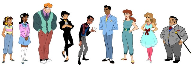 Look at how cute all these characters are! That's Goldie on the far left. Art by Brittney Williams.