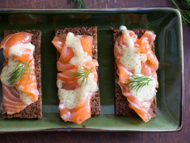 Gravlax With Caraway, Coriander, and Mustard-Dill Sauce