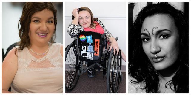 "Stella Palikarova (photo by Johann Louw), Bethany Stevens (photo by Joeff Davis) and Lyric Seal (photo by Nikki Silver) for ""A Conversation on Sex and Wheelchairs"""