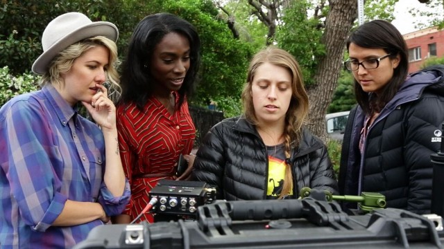 Laura Zak and Angelica Ross on set.