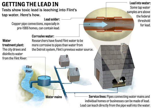 Getting The Lead In. Tests show toxic lead is leaching into Flint's tap water. Here's how. Water treatment plant: the city draws and disinfects water from the Flint River. Corrosive water: Researchers have found Flint water to be more corrosive to pipes than water from the Detroit system, Flint's previous water source. Service lines: Pipes connecting water mains and individual homes or businesses can be made of lead. Lead can leach directly from the pipe wall into the water. Lead solder: Copper pipe connections, especially in pre-1986 homes, can contain lead. Lead into water: Some tap water samples are above the federal threshold for lead.