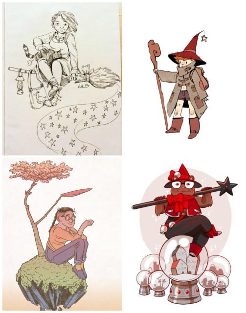 Witchsonas clockwise from left: Wendy Xu, Noelle Stevenson, Mari Costa, Blue Delliquanti.