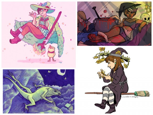 Witchsonas clockwise from left: Victoria Grace Elliott, Steenz Stewart, Melanie Gillman, Carey Pietsch