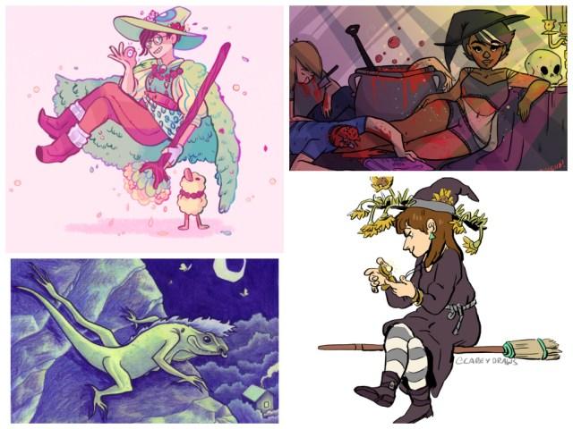 Witchsonas clockwise from left: Victoria Grace Elliott, Steenz Stewart, Melanie Gillman, Carey Pietsch