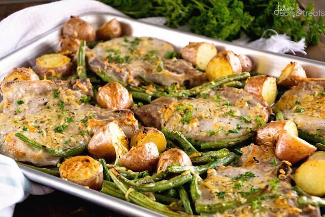 One Pan Parmesan Pork Chops and Veggies