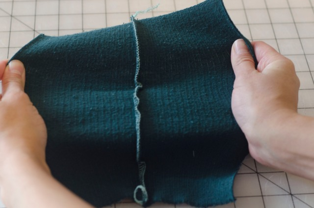 A serged seam is great for knits because it sews the fabric together and trims off the raw edges, reducing bulk and creating a strong, professional finish. You can pull and stretch these seams and they won't pop open.