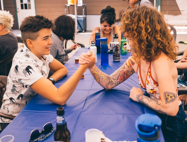 arm wrestling practice (photo by Norah Smith)