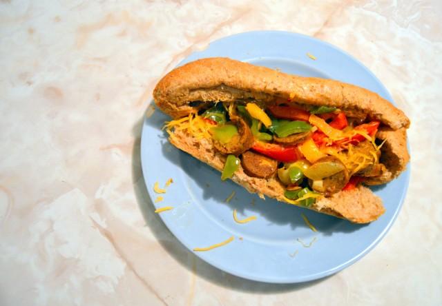 Quick 'n Easy Veggie Sausage 'n Peppers Sandwich