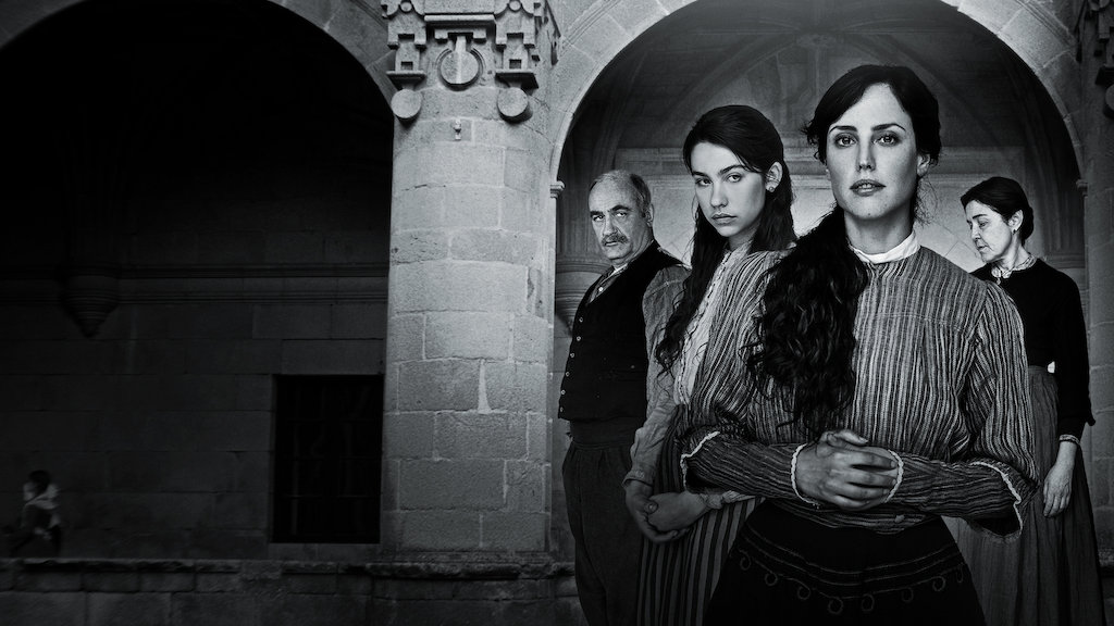 Elisa & Marcela promotional image in black and white