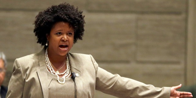 Missouri state Sen. Maria Chappelle-Nadal speaks on the Senate floor Wednesday, Sept. 10, 2014, in Jefferson City, Mo. Chappelle-Nadal, a Democrat who was among the those tear gassed by police while protesting with her constituents in Ferguson, Mo., spoke passionately about being involved in protests after a white police officer fatally shot an unarmed black 18-year-old man. (AP Photo/Jeff Roberson)