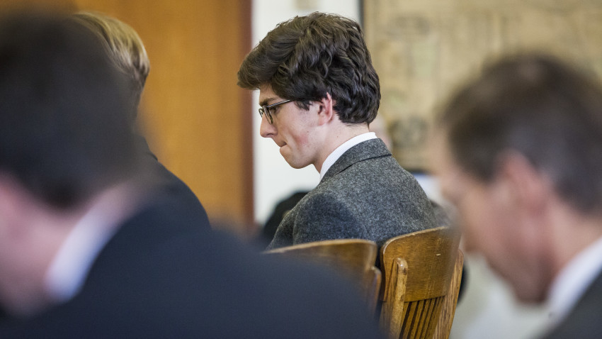 """Convicted St. Paul's School graduate Owen Labrie appears in Merrimack County Superior Court in Concord, N.H., on Friday, March 18, 3016. Labrie's bail was revoked. A judge in Merrimack County Superior Court said Labrie would begin his one-year jail sentence immediately. """"You are unlikely to abide by any conditions,"""" Judge Larry Smukler said. """"I don't relax conditions because you can't comply with them.""""(Elizabeth Frantz/Concord Monitor via AP, Pool)"""