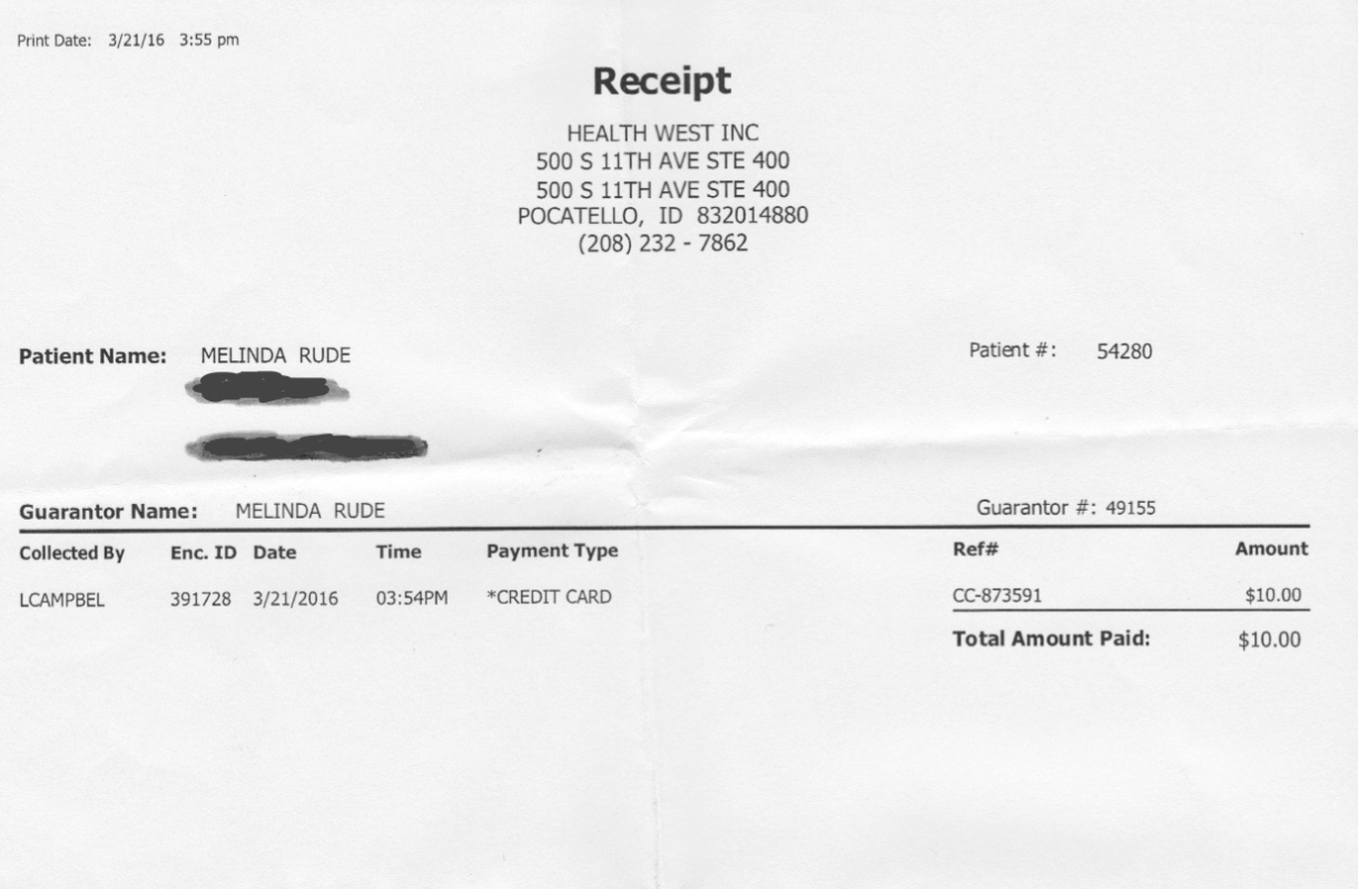 Here's the receipt from my latest therapy session. I've been going once a week since January, and it's been incredibly helpful and really honestly life altering. I'm so, so glad that I finally made the decision to find a therapist.