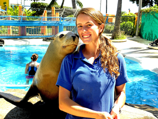 Mary with a sea lion, in her previous job
