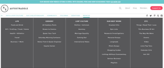 The new menu on desktop