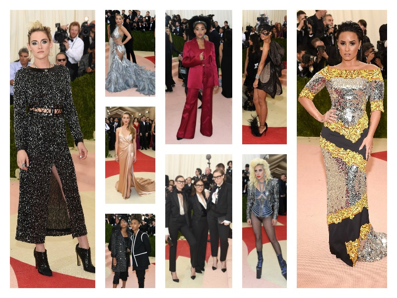 Kristen Stewart in Chanel. Rita Ora in Vera Wang. Amandla Stenberg. Zoe Kravitz in Valentino. Amber Heard in Ralph Lauren. Willow Smith in Chanel and Jaden Smith in Louis Vuitton. Jenna Lyons, Jennifer Konner, and Lena Dunham. Lady Gaga in Atelier Versace. Demi Lovato in Moschino. Images via Vogue.