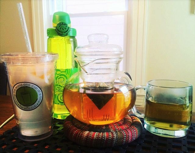 L to R: 16 oz of lemon water with apple cider vinegar and stevia, a 24 oz Nalgene On the Fly Bottle of tap water, and a nice steaming pot of Yogi Mother-to-Be tea