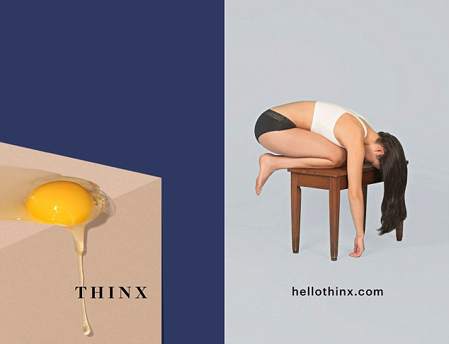 What is even happening here, Thinx? Who is your target market? Why is this menstruating person doing awkward yoga on a piano bench?