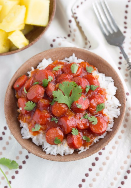 bbq-hot-dogs-over-rice-e1415935257545