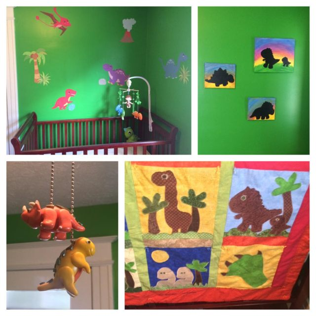 L to R, top to bottom: Decals and mobile, Dino paintings by my mom, light cord pulls, and quilt by my mom