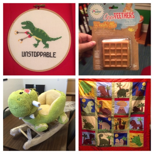 Left to right, top to bottom:Fikri embroidered this hilarious cross-stitch that's now hanging in Remi's room, Waffle's sister found this teether for the soon-to-be littlest Waffle, KaeLyn's coworkers sent this badass dino rocker to her office, KaeLyn's mom worked tirelessly on this handmade dino quilt that is definitely going to be Remi's favorite blankie.