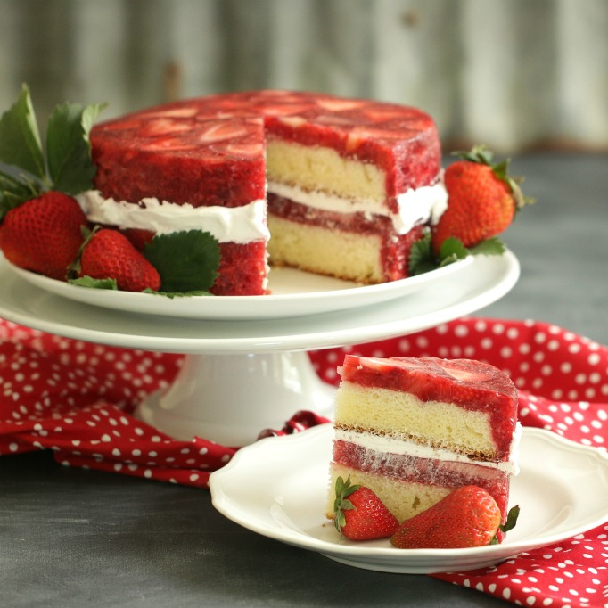 Lemon Coconut And Strawberry Cake