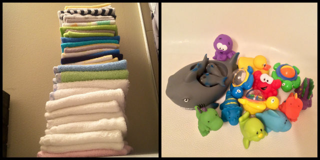 The leaning tower of washcloths and our bathtime toy collection.