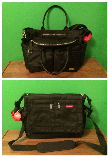 Your Queer Mom and Dad Diaper Bags (Chelsea Downtown Chic Diaper Satchel for Kae and Black Messenger Diaper Bag for Waffle, both by SkipHop)