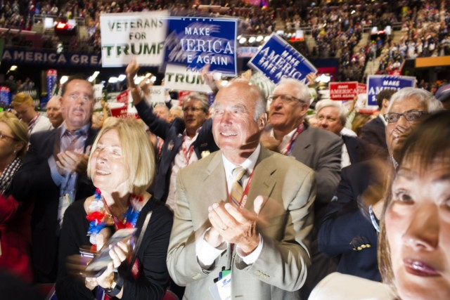 CLEVELAND - JULY 18: Scenes from the floor of the 2016 Republican National Convention on Monday, July 18, 2016, in Cleveland, Ohio. (Photo by Landon Nordeman)