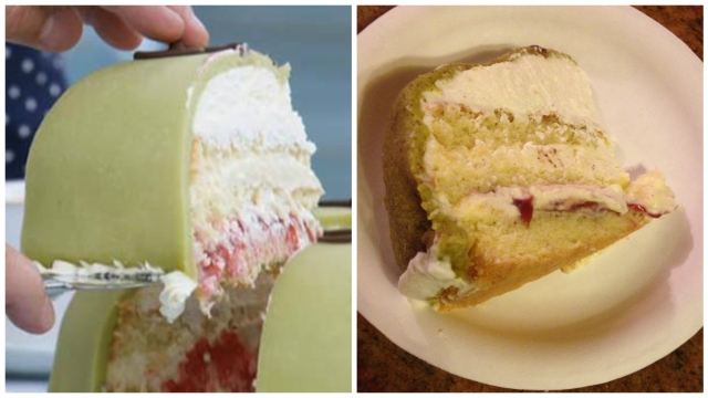 Look at those layers! Mary's cake from the show is on the left, mine is on the right.