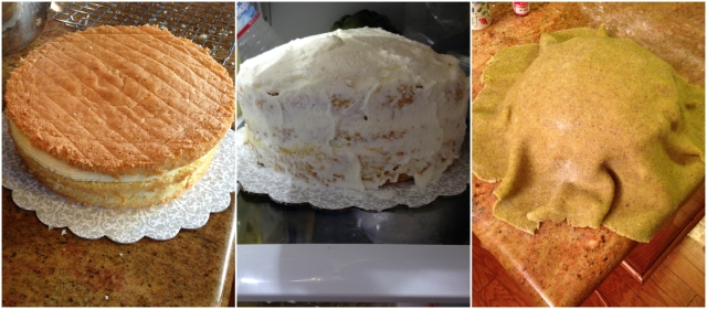 The cake in three layers, after I put whipped cream on it, and after I covered it all with marzipan.