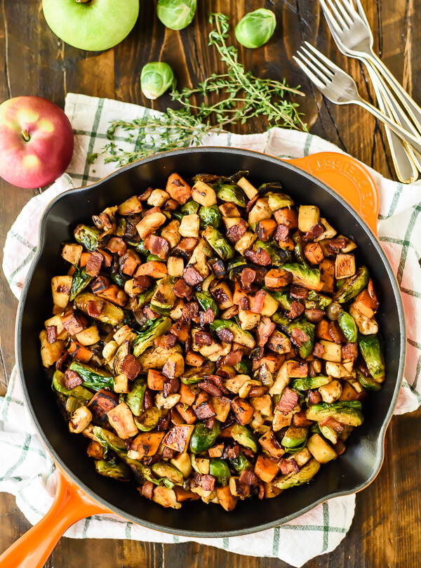 Chicken-Bacon-Brussels-Sprouts-Skillet-with-Sweet-Potatoes-and-Sauteed ...