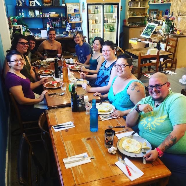 Roc Straddlers #AutostraddleBrunch at Voula's Greek Sweets! (Sorry this pic is missing a couple folks!)