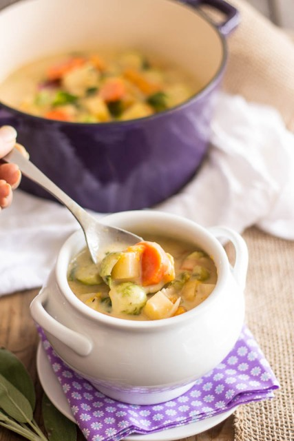 Non-Dairy Creamy Vegetable Soup via The Healthy Foodie