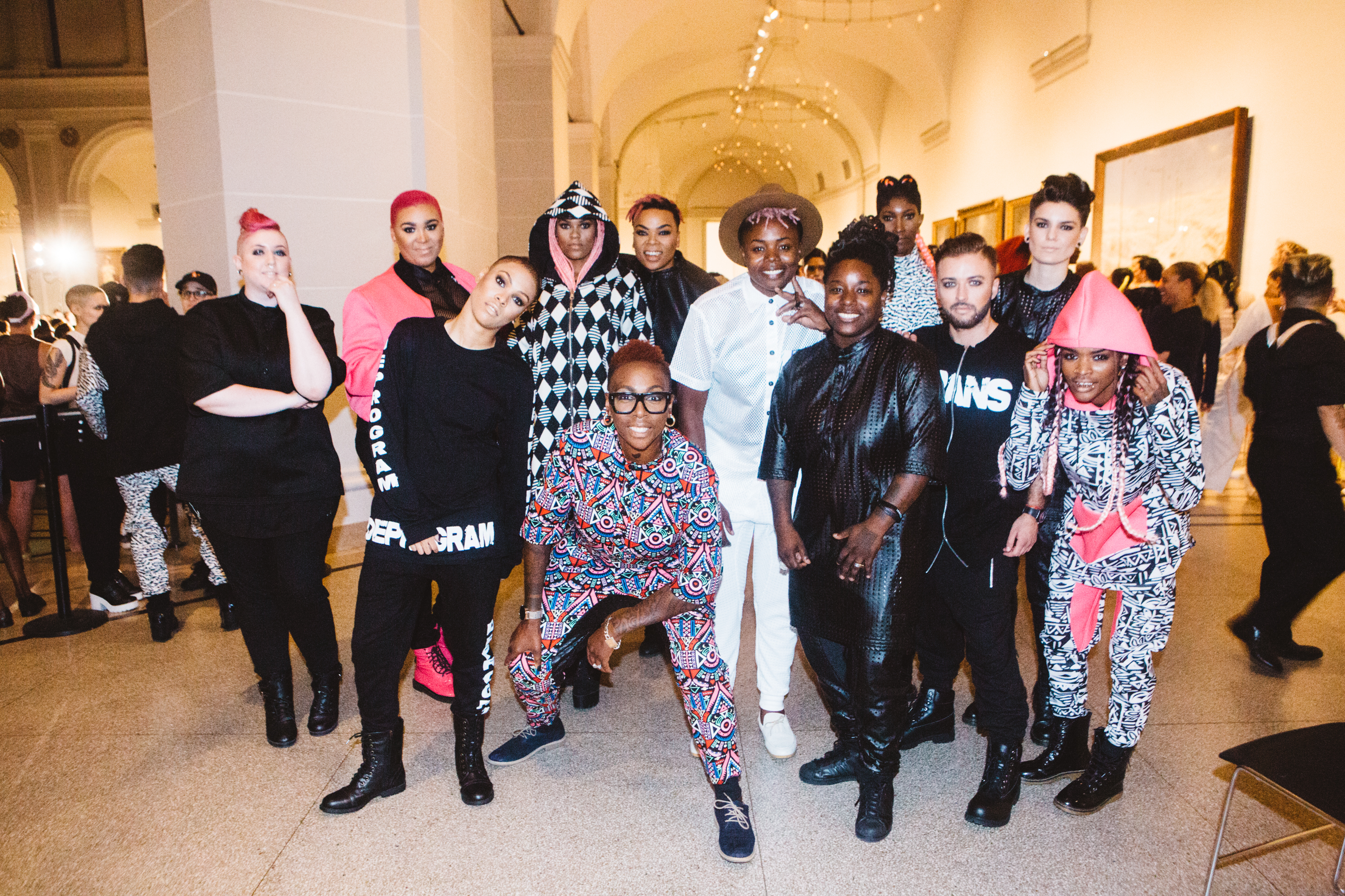 the models and designers after the show (Kirst Callahan, Jazzmyne Robbins, Janeeka Muse, Shalisa West, Madam Muse, Charlie Poulson, Alyssa Evans, Gina Yashere, Latoya Robert, Uzo Amaka, Stoney Michelli, Whitney Wheat, not pictured Millz Serano)