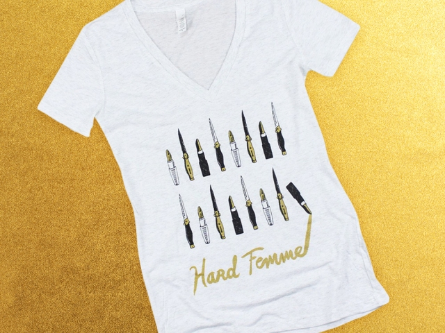 Hard Femme Tee on Gold Background