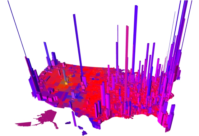 "2016 presidential election results. The height of each tower is proportional to the ""voter density"" so that the volume of each ""tower"" is proportional to the number of votes. Via Robert J. Vanderbei, Princeton."