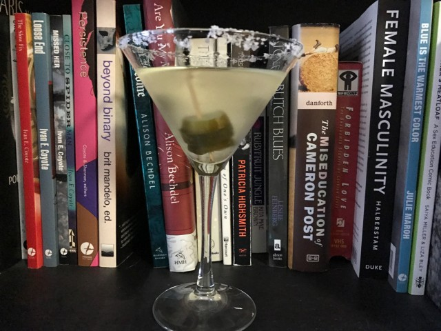 I leant my copy of Dykes To Watch Out For to one of my friends HI ELLIOT I hope you like it also I almost posted this photo upside down because I am ENJOYING THIS MARTINI while I insert photos I hope you do too the end