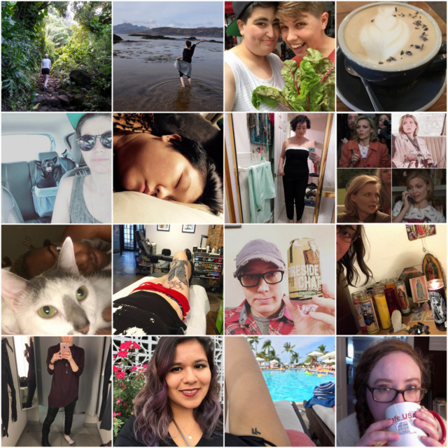 1st row: Casey (hike), Beth (beach walk), Audrey + Wynn (greens), Carrie (earl grey latte) 2nd row: Carmen + Eli (desert roadtrip), KaeLyn (day naps), Laura (selfies), Erin (collage, breathing) 3rd row: Alaina (cat cuddles), Stef (tattoos), Heather (beers), Mey (witchy shit) 4th row: Laneia (pleather pants), Yvonne (purple hair), Riese (water, sunshine), Rachel (tea)