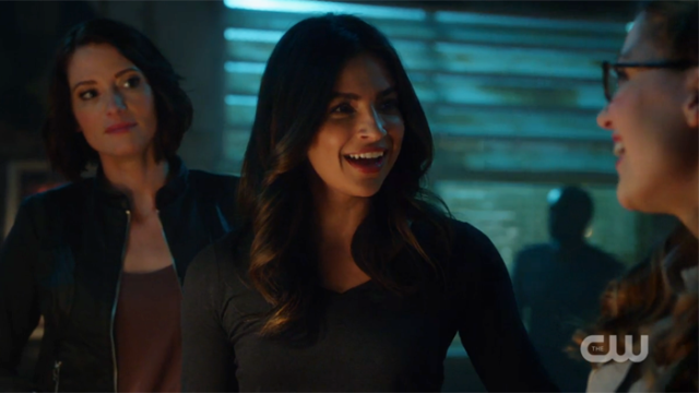 Maggie smiles when she meets Kara for the first time.