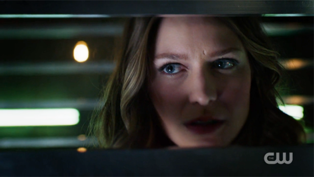 Kara's face is determined