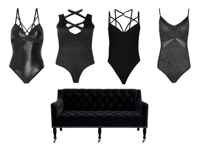strappy black bodysuits and a black velvet couch