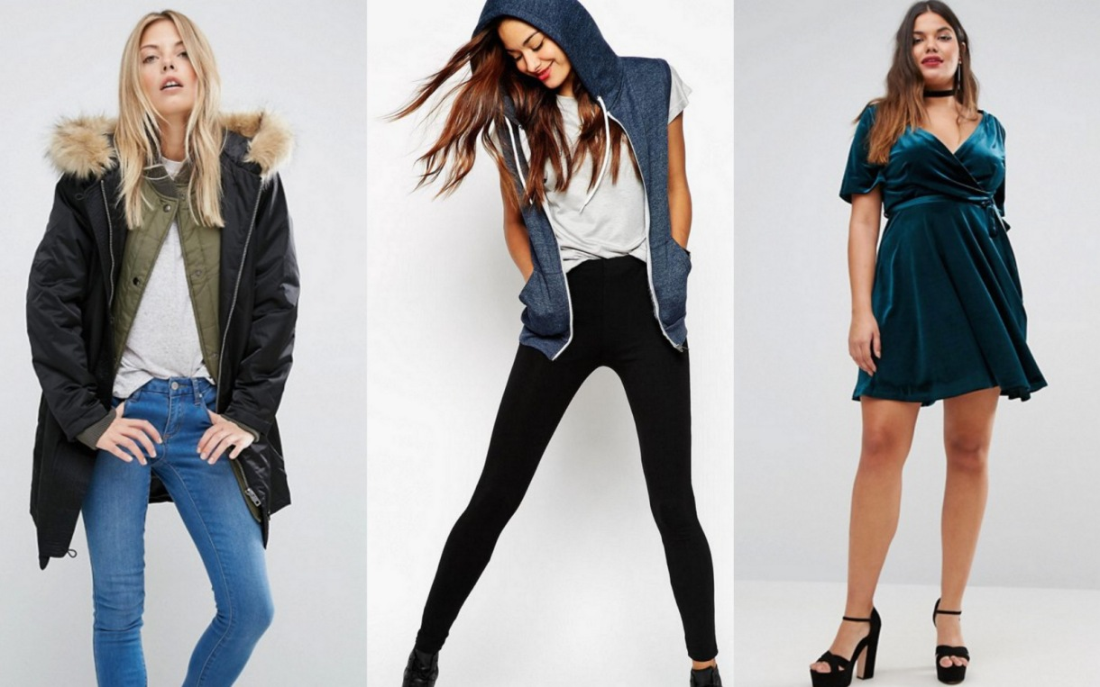 ASOS 3 in 1 Parka with Rib Collar - $84.70 (from $121) // ASOS TALL High-Waisted Leggings in Black - $8.75 (from $12.50) // New Look Plus Velvet Wrap Front Dress - $30.10 (from $43)