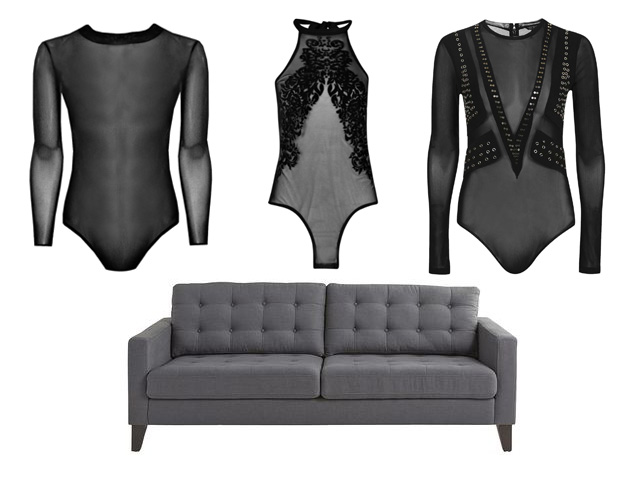 mesh bodysuits and a midcentury grey couch