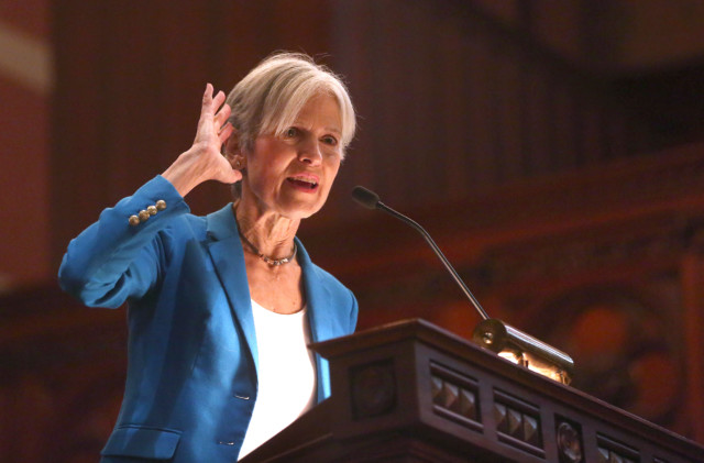 BOSTON - OCTOBER 30: Dr. Jill Stein, Green Party presidential candidate, speaks as a rally at Old South Church in Boston on Oct. 30, 2016. (Photo by Pat Greenhouse/The Boston Globe via Getty Images)
