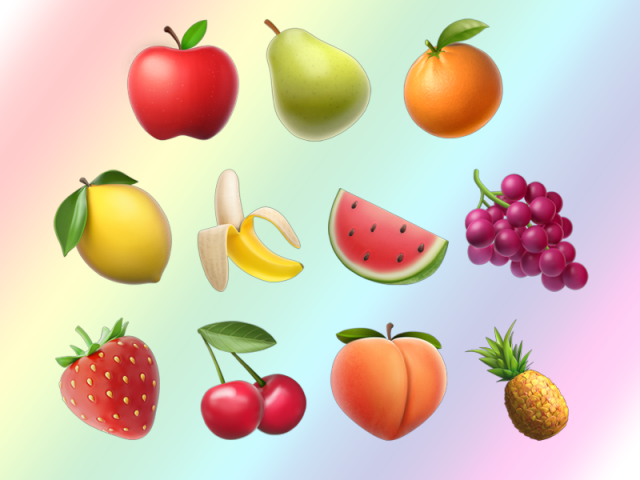 An image of various fruit emoji, superimposed over a light rainbow background
